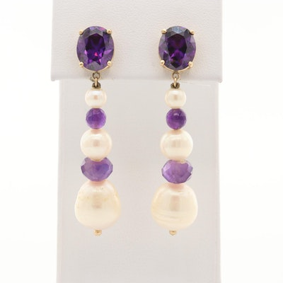 14K Yellow Gold Dangle Earrings with Cultured Pearl, Amethyst and Cubic Zirconia