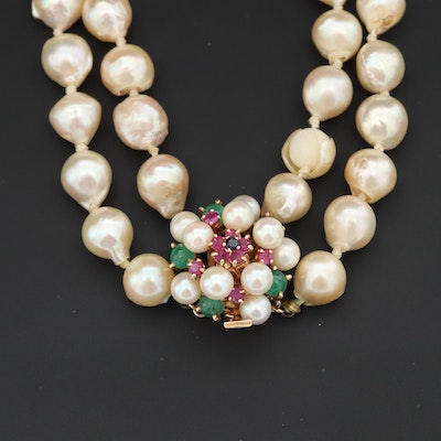 14K Double Strand Necklace with Ruby, Sapphire, Emerald and Cultured Pearl
