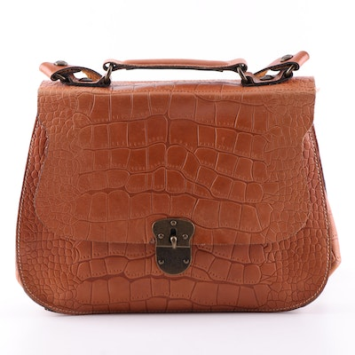 Patricia Nash Croc Embossed Leather Shoulder Bag