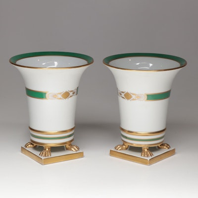 "Herend ""D'Or Green"" Urn Vases"