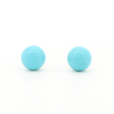 14K Yellow Gold Imitation Turquoise Stud Earrings