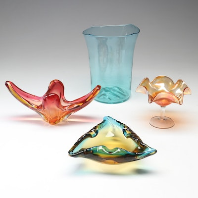 Colorful Glass Including Compote and Ashtray, 20th Century