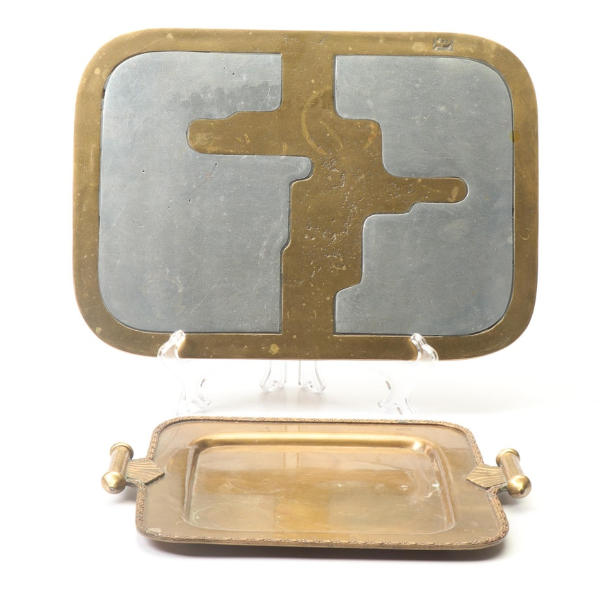 David Marshall and Brass Art Deco Trays, Mid 20th Century