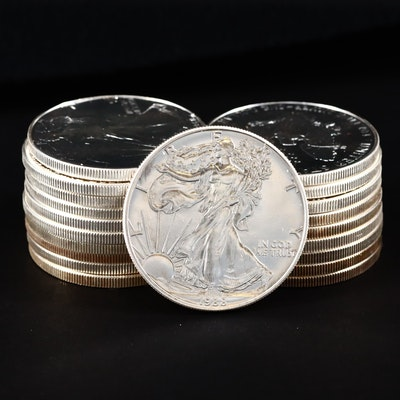 Roll of Twenty U.S. Silver Eagles Including 1988 and 1997