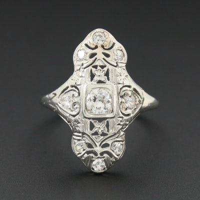 Edwardian 14K White Gold Diamond Ring