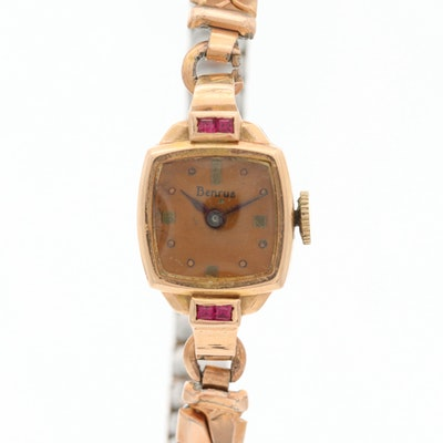 Vintage Benrus 14K Rose Gold and Synthetic Ruby Wristwatch