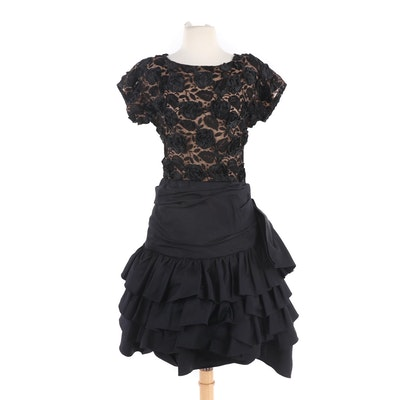 Paul-Louis Orrier Paris Black Floral Lace and Silk Blend Ruffled Cocktail Dress