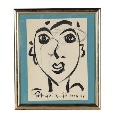 "Peter Keil 1975 Abstract Acrylic Portrait ""Spanish Matador"""