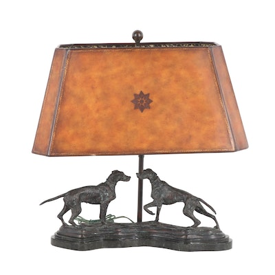 Maitland Smith Bronze Pointer Dogs Lamp with Leather Shade