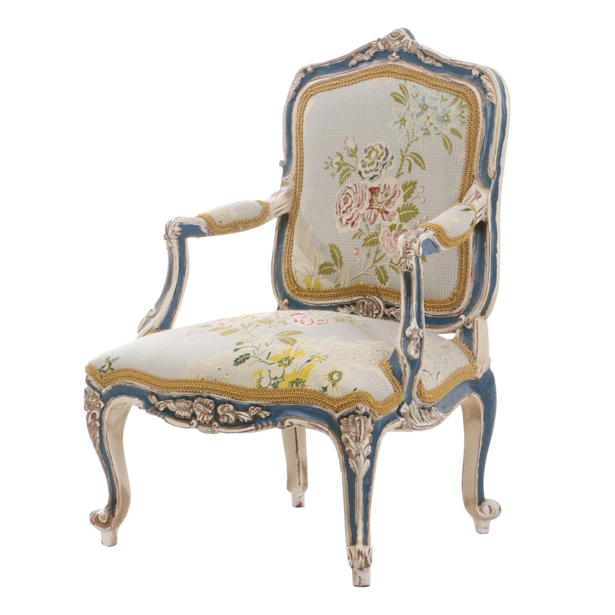 Louis XV Style Painted Diminutive Arm Chair, Mid to Late 20th Century