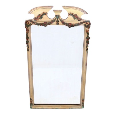 Painted Polychrome Floral Garland Mirror, Early 20th Century