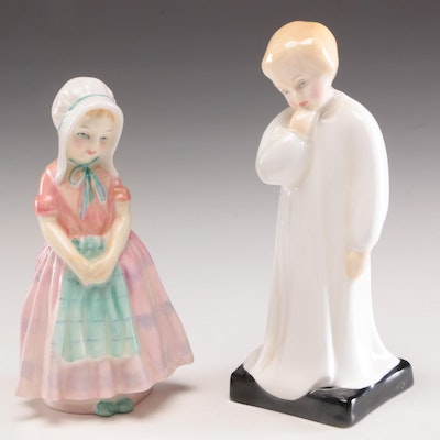 "Royal Doulton ""Tootles"" and ""Darling"" Bone Chine Figurines"