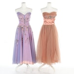 Embellished Sweetheart Bodice Strapless Gowns, 1950s Vintage