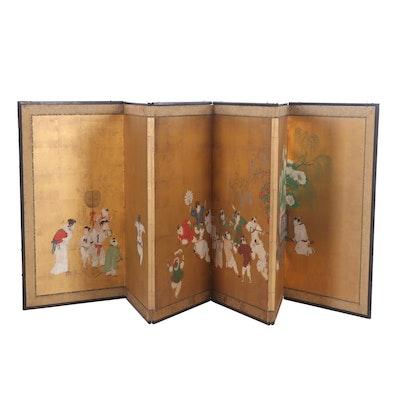 Japanese Gouache Painted Folding Screen, Meiji Period