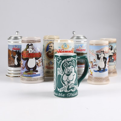 Hamm's Ceramic Beer Steins with Hamm's Bear, 1990s–2000s