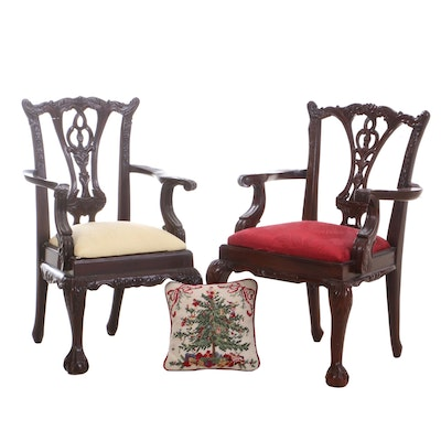 Two Chippendale Style Mahogany Child's Arm Chairs, Late 20th Century