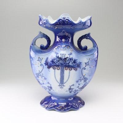 Ringtons Tea Merchants Flow Blue Floral Vase