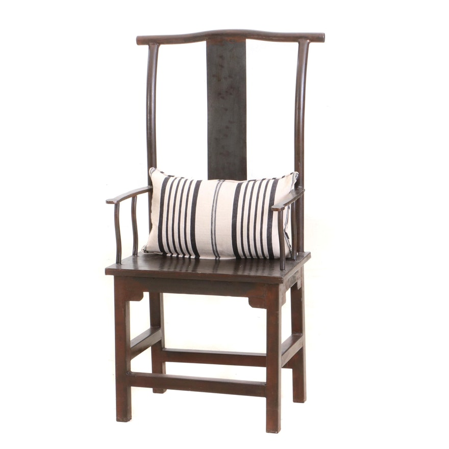 Chinese High Lamphanger Yoke-Back, Metal Arm Chair, Contemporary