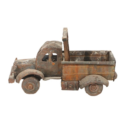 Welded Metal and Wood Farm Truck Sculpture