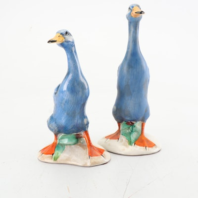 Italian Hand-Painted Porcelain Duck Figurines, Mid to Late 20th Century
