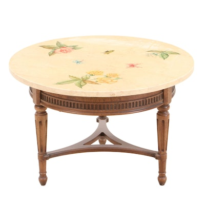 Floral Painted Marble Coffee Table, Mid-20th Century