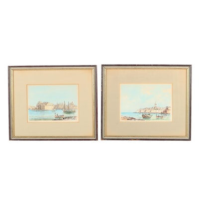 1974 European Harbor Watercolor Paintings