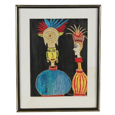 Charles Tullio Surrealist Acrylic Painting