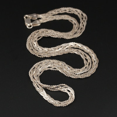 Sterling Silver Braided Serpentine Link Necklace