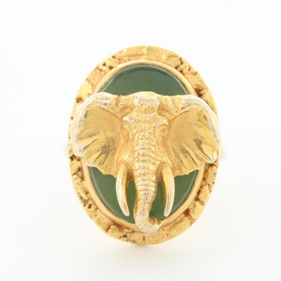 10K Yellow Gold Nephrite Elephant Motif Ring