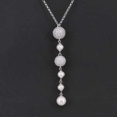 Elle Sterling Silver Cultured Pearl, Cubic Zirconia and Synthetic Ruby Necklace