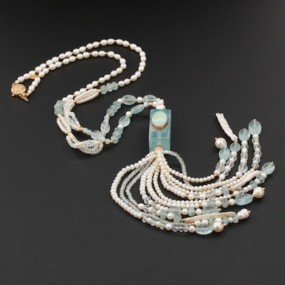 Suzanne Miller 14K Yellow Gold Opal, Aquamarine, and Pearl Tassel Necklace