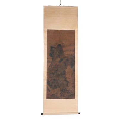 Antique Chinese Landscape Painting on Hanging Scroll