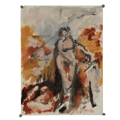 Oscar Murillo Oil Painting of Abstract Nude Figure