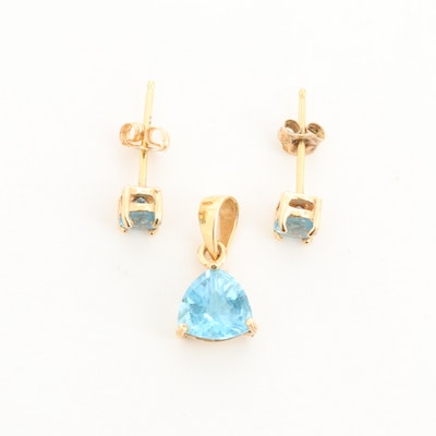 18K Yellow Gold Topaz Stud Earrings and  Pendant