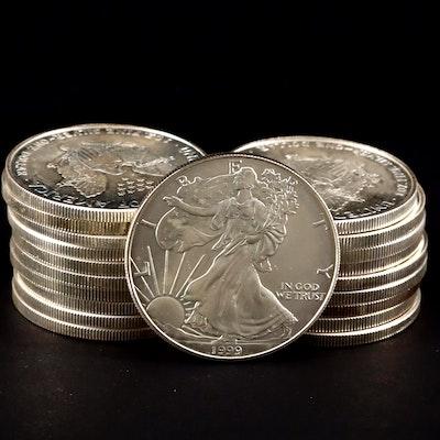 Roll of Twenty 1999 One dollar U.S. Silver Eagles