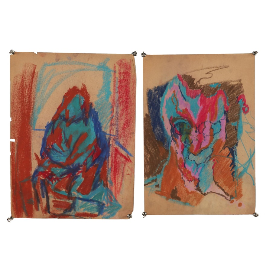 Oscar Murillo Abstract Figural Pastel Drawings