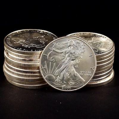 Roll of Twenty 2000 One Dollar U.S. Silver Eagles