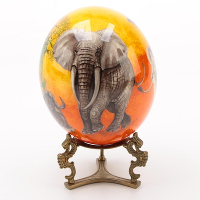 South African Hand Decorated Mixed Media Ostrich Egg with Brass Stand