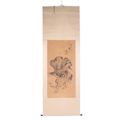 Antique Chinese Watercolor Hanging Scroll of Liu Haichan
