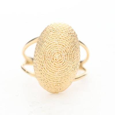 14K Yellow Gold Oval Basket Ring