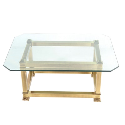 Contemporary Gold Finish Metal Glass Top Coffee Table