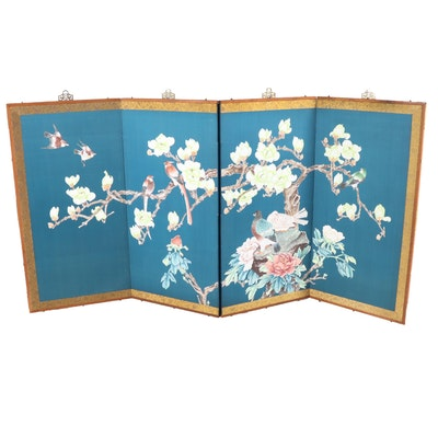 Chinese Flower and Bird Motif Four-Panel Folding Screen