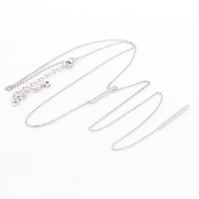 Elle™ Sterling Silver, Cubic Zirconia and Ruby Adjustable Necklace