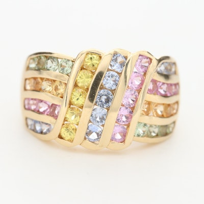 14K Yellow Gold Multi-Color Sapphire Ring
