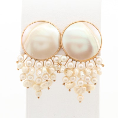14K Yellow Gold Mother of Pearl and Cultured Pearl Earrings