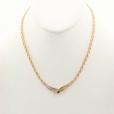 14K Yellow Gold Diamond and Emerald Necklace with White Gold Accents