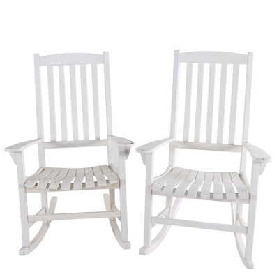 Pair of White-Painted Wooden Rocking Chairs