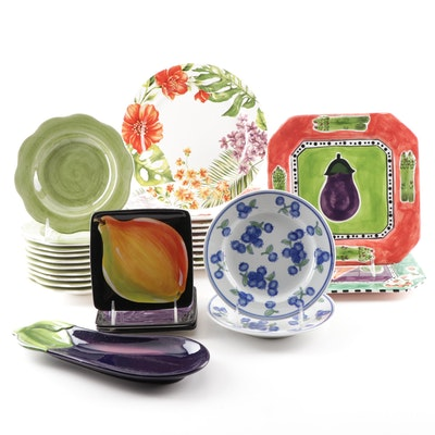 Hand Painted  Ceramic Dinnerware Grouping Featuring Salute and Pier 1 Imports