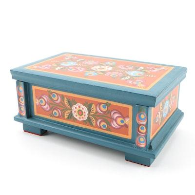 Scandinavian Hand-Painted Folk Art Cedar-Lined Hinged Box