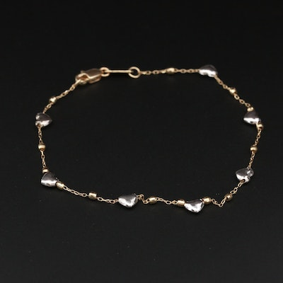 14K Yellow Gold Heart Bracelet with White Gold Accents